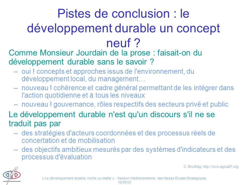 « Le développement durable, mythe ou réalité » - Session Méditerranéenne des Hautes Etudes Stratégiques, 12/06/03 Pistes de conclusion : le développem