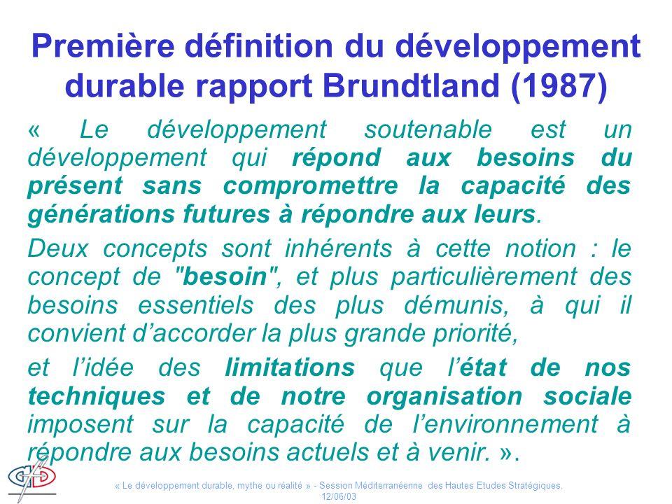 « Le développement durable, mythe ou réalité » - Session Méditerranéenne des Hautes Etudes Stratégiques, 12/06/03 Evaluer la durabilité : les indicateurs de développement durable Apparition doutils dévaluation de plus en plus nombreux –Objectifs du Millénium –Indicateurs de développement durable de l ONU –Travaux de l OCDE –Initiatives privées (ISO, Global Reporting Initiative…).