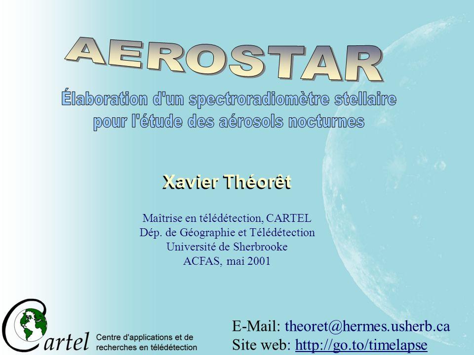 E-Mail: theoret@hermes.usherb.ca Site web: http://go.to/timelapse Xavier Théorêt Maîtrise en télédétection, CARTEL Dép. de Géographie et Télédétection