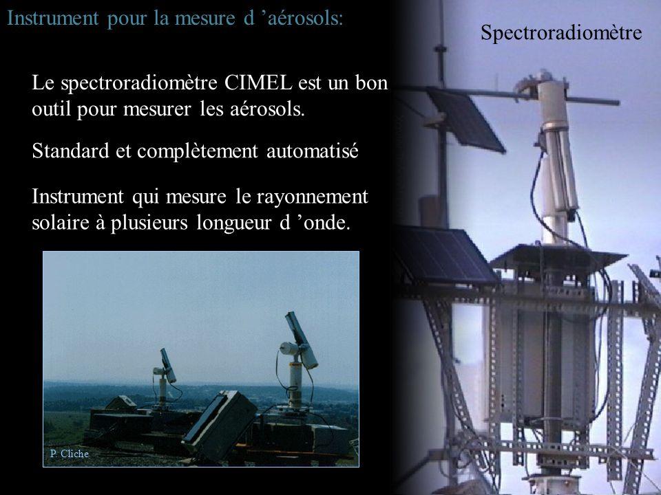 Spectroradiomètre Le spectroradiomètre CIMEL est un bon outil pour mesurer les aérosols. Instrument qui mesure le rayonnement solaire à plusieurs long