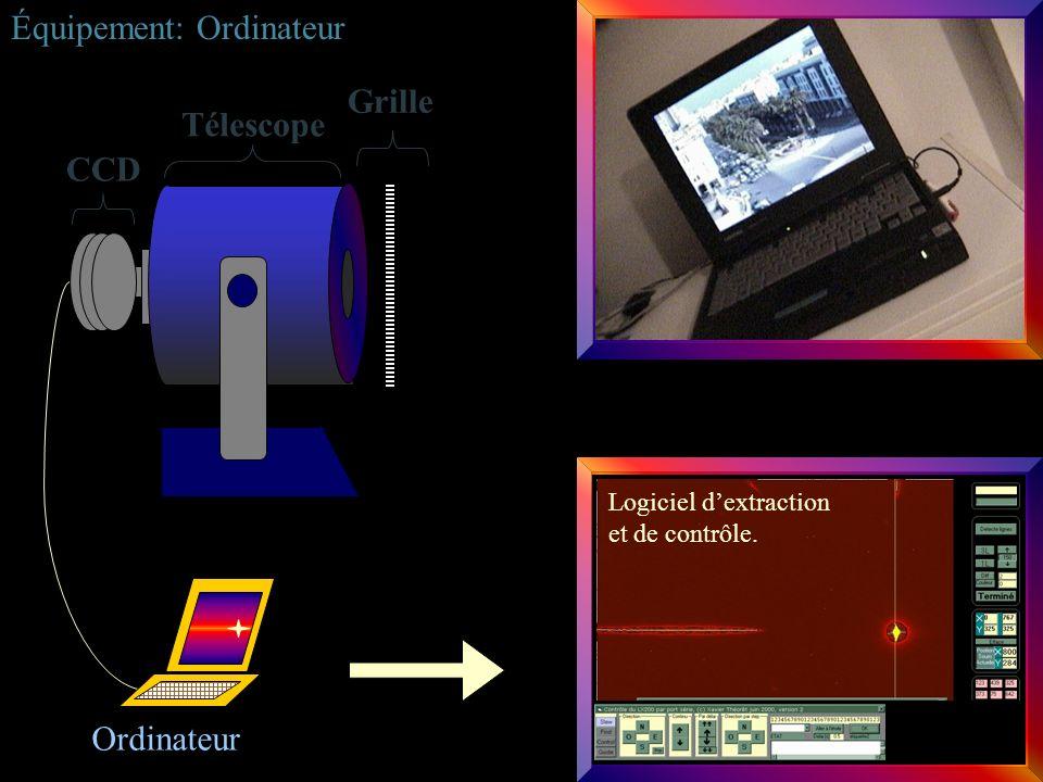 Ordinateur Équipement: Ordinateur CCD Télescope Grille Logiciel dextraction et de contrôle.