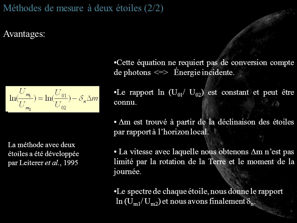Cette équation ne requiert pas de conversion compte de photons Énergie incidente. Le rapport ln (U 01 / U 02 ) est constant et peut être connu. m est