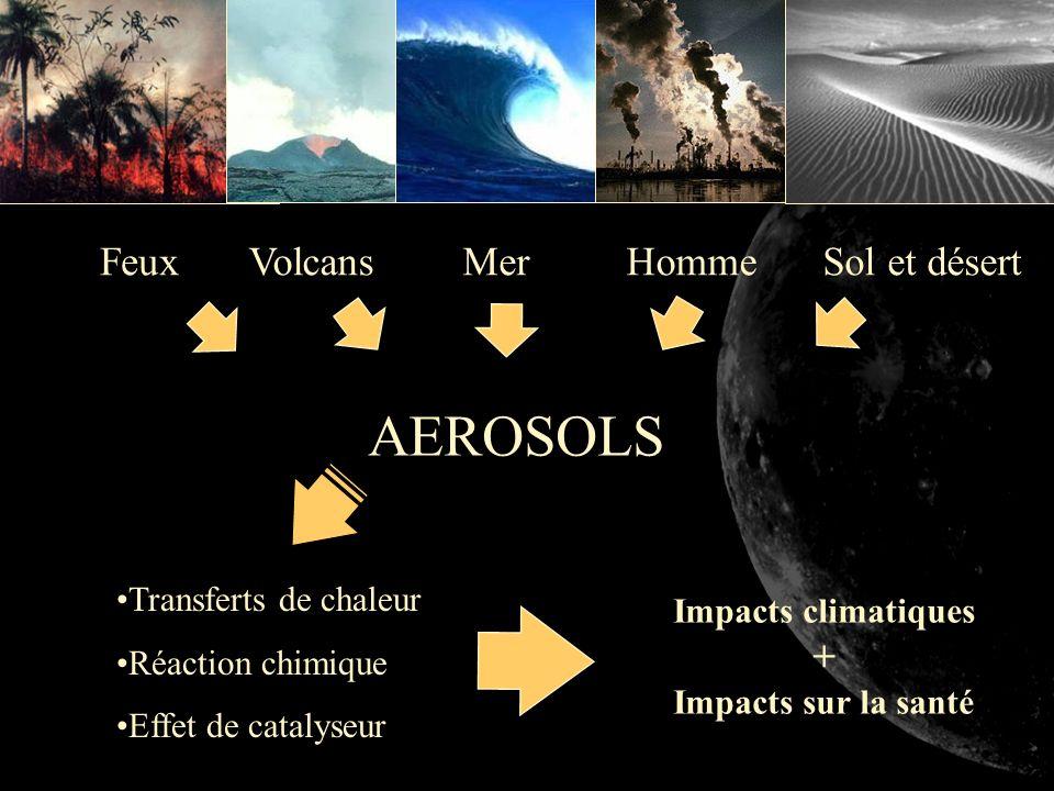 AEROSOLS FeuxVolcansSol et désert Transferts de chaleur Réaction chimique Effet de catalyseur Homme Impacts climatiques + Impacts sur la santé Mer