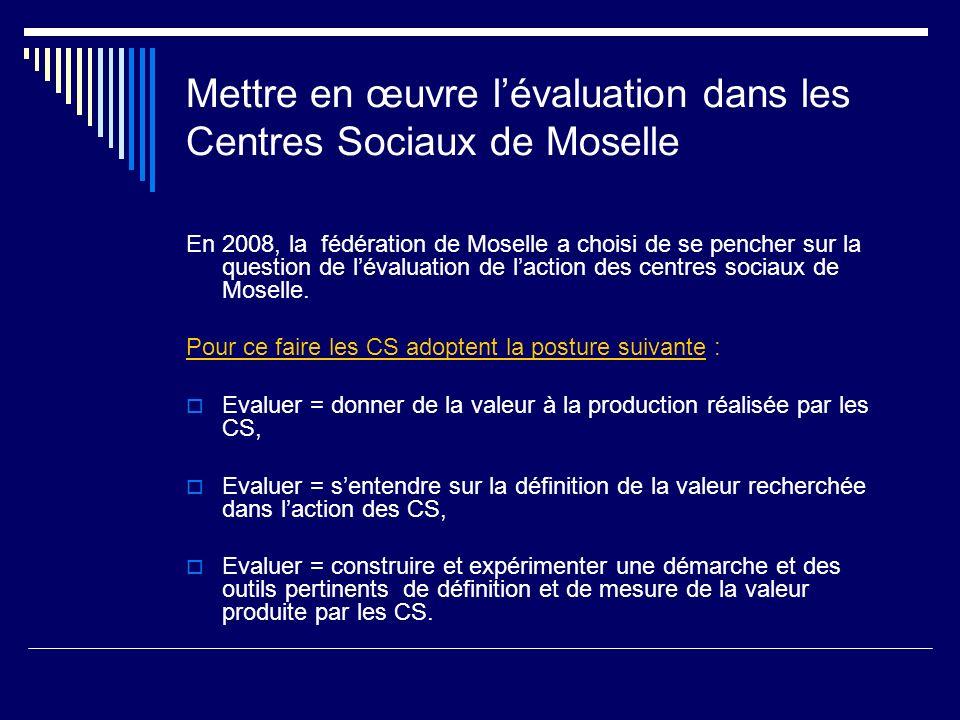 Mettre en œuvre lévaluation dans les Centres Sociaux de Moselle En 2008, la fédération de Moselle a choisi de se pencher sur la question de lévaluatio