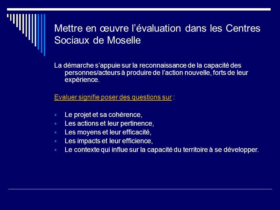 Mettre en œuvre lévaluation dans les Centres Sociaux de Moselle La démarche sappuie sur la reconnaissance de la capacité des personnes/acteurs à produ