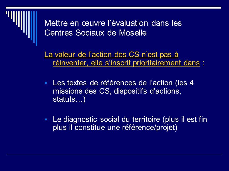 Mettre en œuvre lévaluation dans les Centres Sociaux de Moselle La valeur de laction des CS nest pas à réinventer, elle sinscrit prioritairement dans