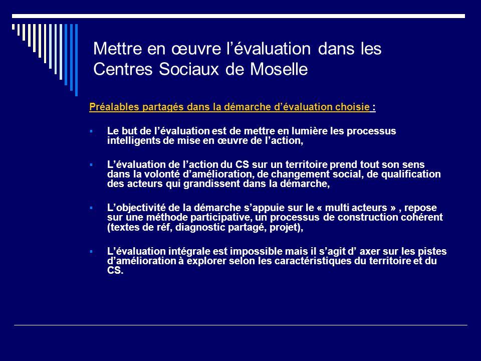 Mettre en œuvre lévaluation dans les Centres Sociaux de Moselle Préalables partagés dans la démarche dévaluation choisie : Le but de lévaluation est d