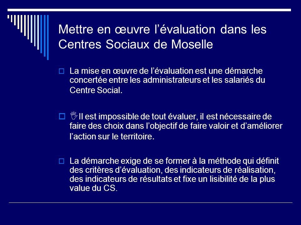 Mettre en œuvre lévaluation dans les Centres Sociaux de Moselle La mise en œuvre de lévaluation est une démarche concertée entre les administrateurs e