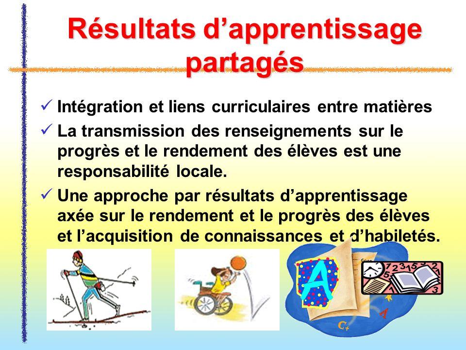 Résultats dapprentissage partagés Intégration et liens curriculaires entre matières La transmission des renseignements sur le progrès et le rendement