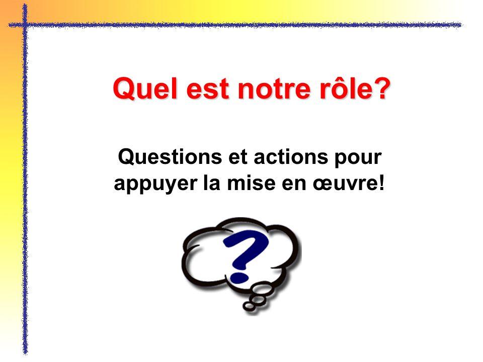 Quel est notre rôle? Questions et actions pour appuyer la mise en œuvre!