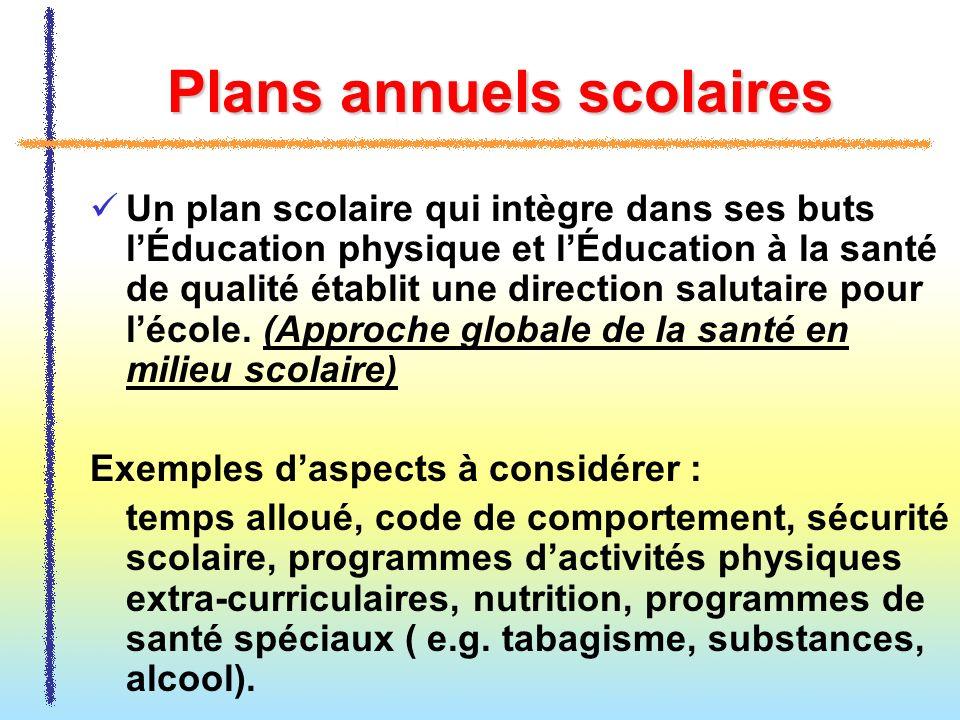 Plans annuels scolaires Un plan scolaire qui intègre dans ses buts lÉducation physique et lÉducation à la santé de qualité établit une direction salut