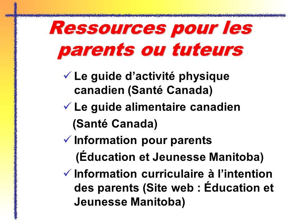 Ressources pour les parents ou tuteurs Le guide dactivité physique canadien (Santé Canada) Le guide alimentaire canadien (Santé Canada) Information po