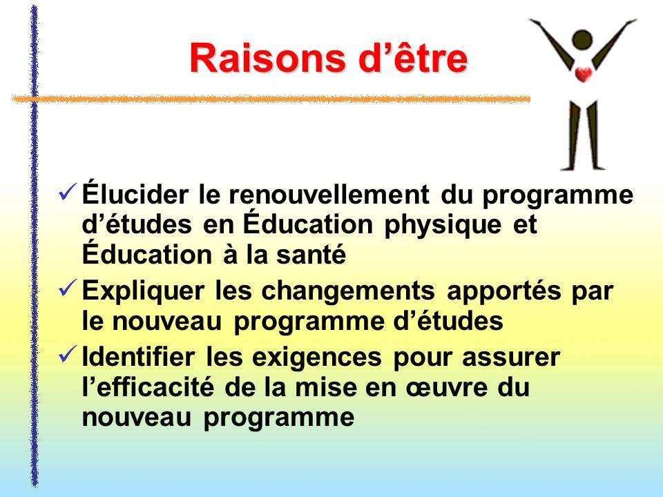 Raisons dêtre Élucider le renouvellement du programme détudes en Éducation physique et Éducation à la santé Expliquer les changements apportés par le