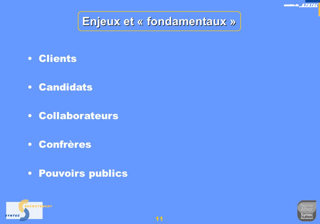 11 Enjeux et « fondamentaux » Clients Candidats Collaborateurs Confrères Pouvoirs publics