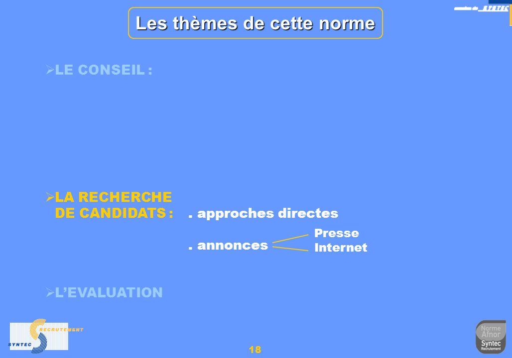 18 Les thèmes de cette norme LE CONSEIL : LA RECHERCHE DE CANDIDATS :. approches directes. annonces LEVALUATION Presse Internet