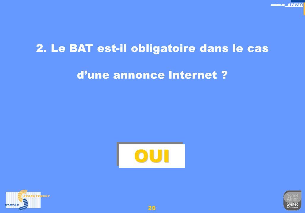 26 2. Le BAT est-il obligatoire dans le cas dune annonce Internet ? OUIOUI