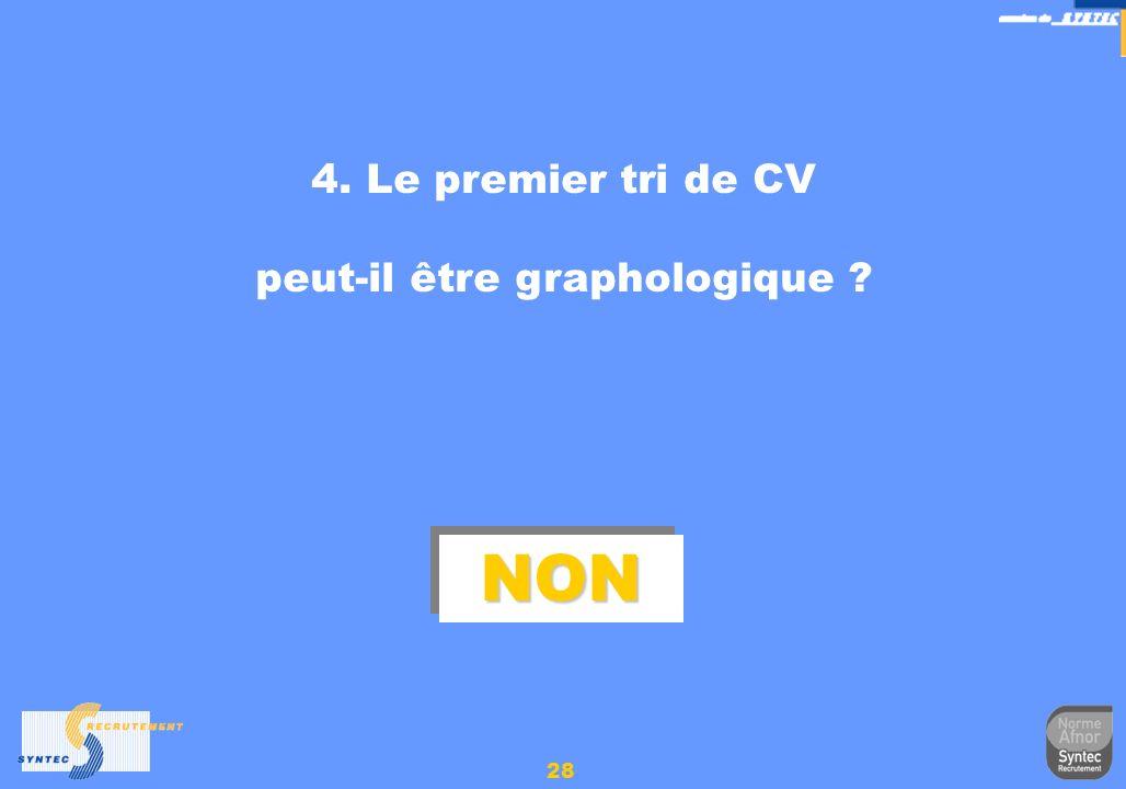 28 4. Le premier tri de CV peut-il être graphologique ? NONNON