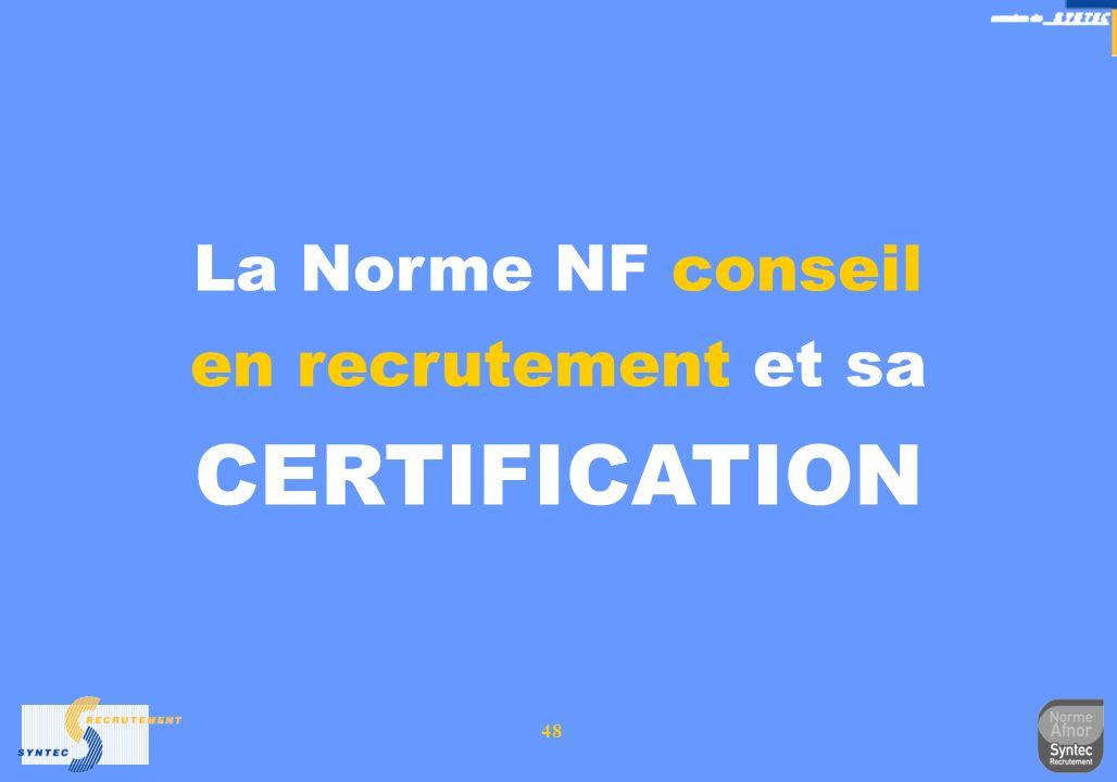 48 La Norme NF conseil en recrutement et sa CERTIFICATION