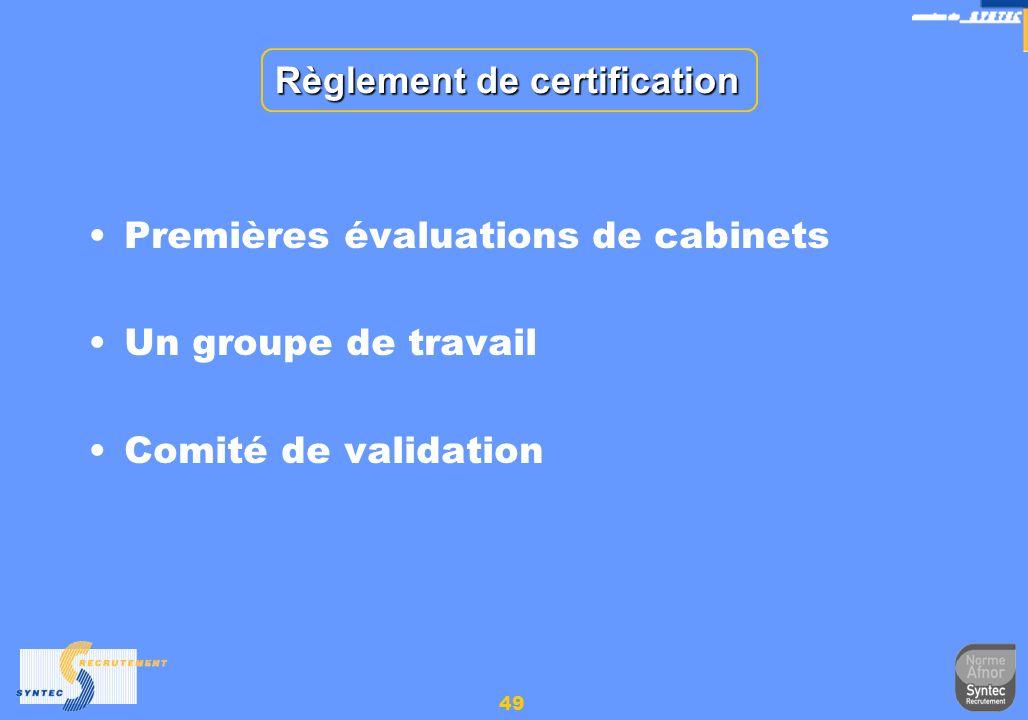 49 Règlement de certification Premières évaluations de cabinets Un groupe de travail Comité de validation