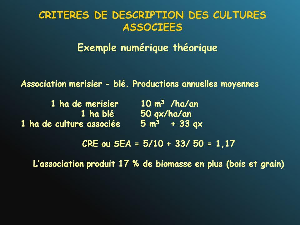 Exemple numérique théorique Association merisier - blé. Productions annuelles moyennes 1 ha de merisier10 m 3 /ha/an 1 ha blé50 qx/ha/an 1 ha de cultu