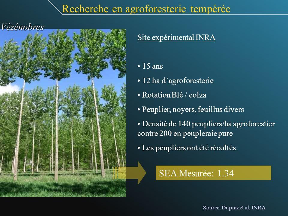 Site expérimental INRA 15 ans 12 ha dagroforesterie Rotation Blé / colza Peuplier, noyers, feuillus divers Densité de 140 peupliers/ha agroforestier c