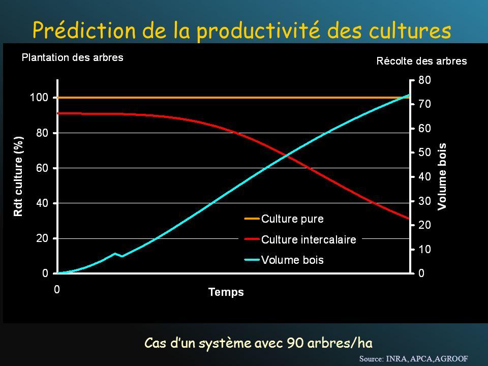Prédiction de la productivité des cultures Cas dun système avec 90 arbres/ha Source: INRA, APCA,AGROOF
