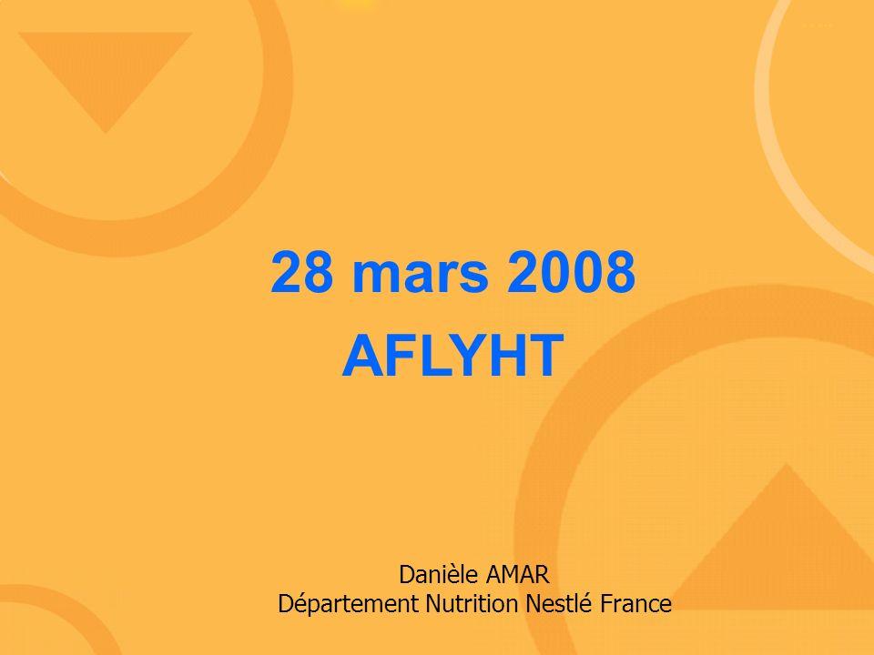 28 mars 2008 AFLYHT Danièle AMAR Département Nutrition Nestlé France