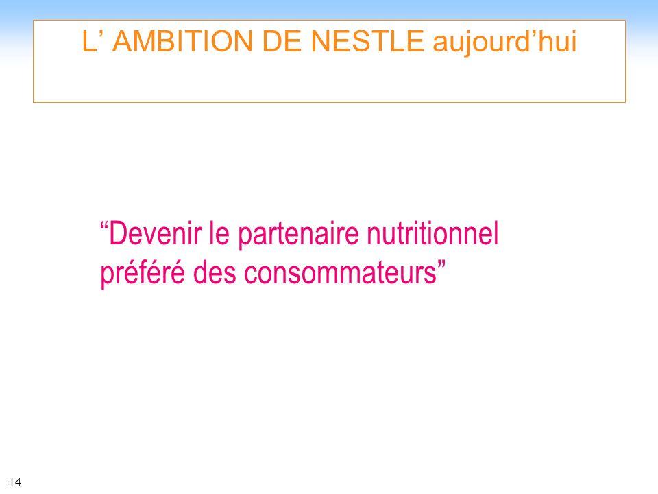 14 L AMBITION DE NESTLE aujourdhui Devenir le partenaire nutritionnel préféré des consommateurs