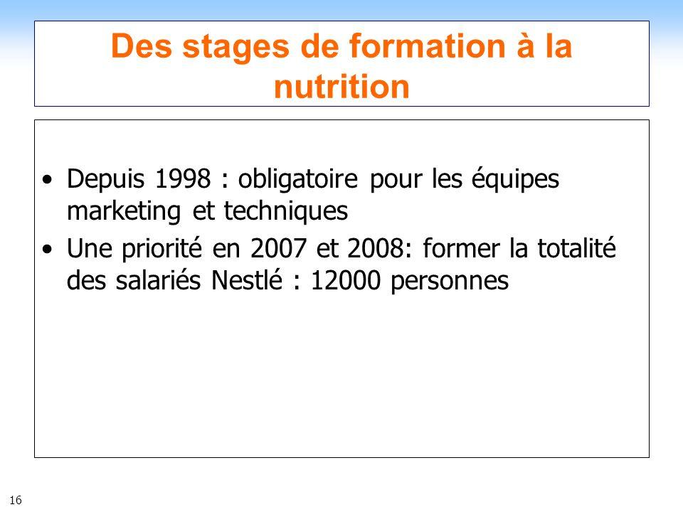 16 Des stages de formation à la nutrition Depuis 1998 : obligatoire pour les équipes marketing et techniques Une priorité en 2007 et 2008: former la t