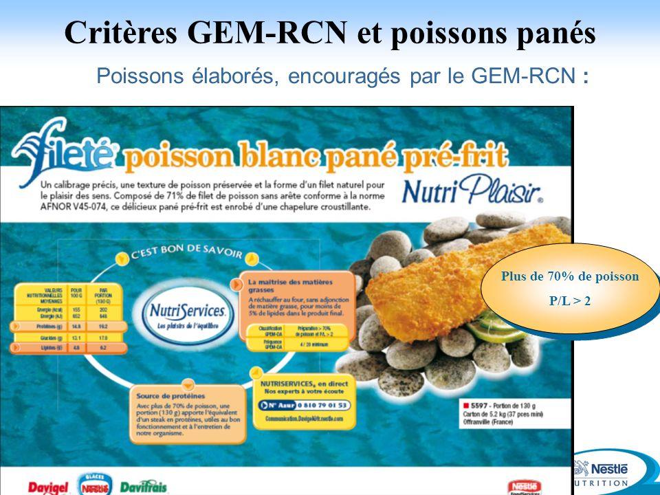 27 Poissons élaborés, encouragés par le GEM-RCN : Critères GEM-RCN et poissons panés Insertion photo poisson pané avec boussole Plus de 70% de poisson