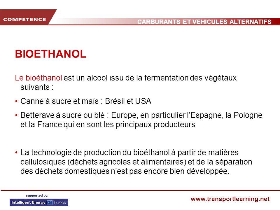 CARBURANTS ET VEHICULES ALTERNATIFS www.transportlearning.net BIOETHANOL Le bioéthanol est un alcool issu de la fermentation des végétaux suivants : C