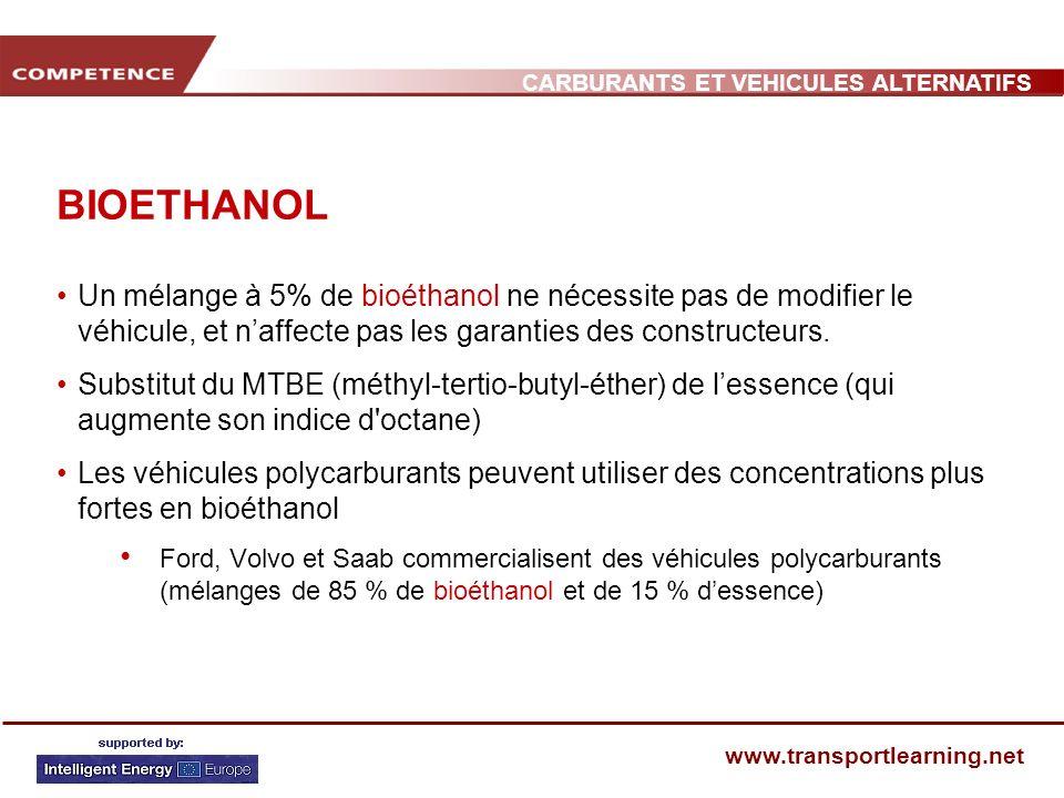 CARBURANTS ET VEHICULES ALTERNATIFS www.transportlearning.net BIOETHANOL Un mélange à 5% de bioéthanol ne nécessite pas de modifier le véhicule, et na
