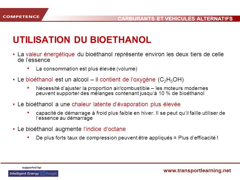 CARBURANTS ET VEHICULES ALTERNATIFS www.transportlearning.net UTILISATION DU BIOETHANOL La valeur énergétique du bioéthanol représente environ les deu