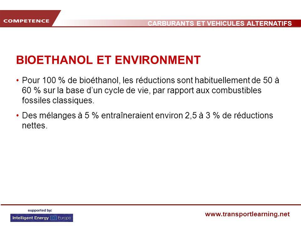 CARBURANTS ET VEHICULES ALTERNATIFS www.transportlearning.net BIOETHANOL ET ENVIRONMENT Pour 100 % de bioéthanol, les réductions sont habituellement d