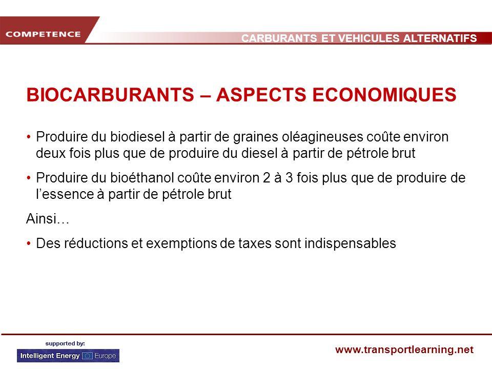 CARBURANTS ET VEHICULES ALTERNATIFS www.transportlearning.net BIOCARBURANTS – ASPECTS ECONOMIQUES Produire du biodiesel à partir de graines oléagineus