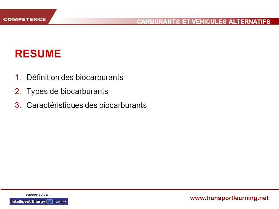 CARBURANTS ET VEHICULES ALTERNATIFS www.transportlearning.net RESUME 1.Définition des biocarburants 2.Types de biocarburants 3.Caractéristiques des bi