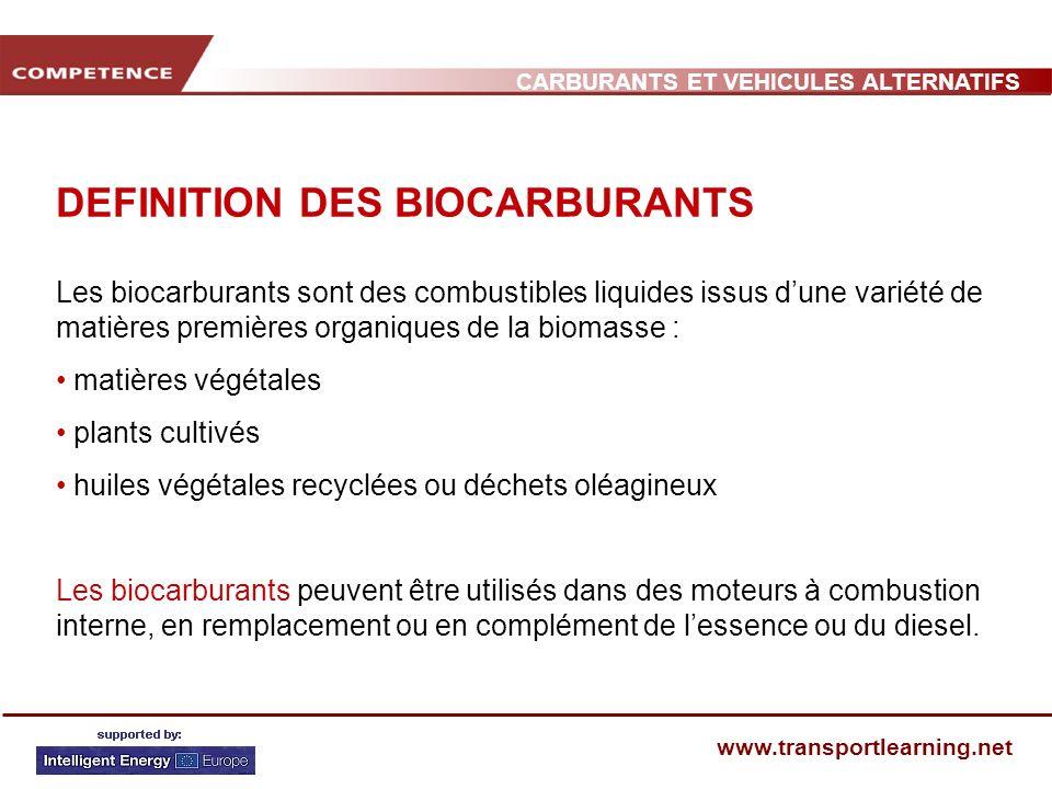 CARBURANTS ET VEHICULES ALTERNATIFS www.transportlearning.net DEFINITION DES BIOCARBURANTS Les biocarburants sont des combustibles liquides issus dune
