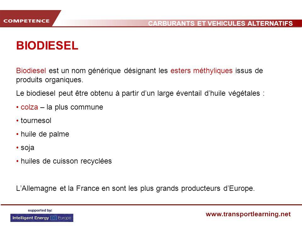 CARBURANTS ET VEHICULES ALTERNATIFS www.transportlearning.net BIODIESEL Biodiesel est un nom générique désignant les esters méthyliques issus de produ