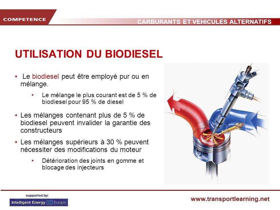 CARBURANTS ET VEHICULES ALTERNATIFS www.transportlearning.net UTILISATION DU BIODIESEL Le biodiesel peut être employé pur ou en mélange. Le mélange le