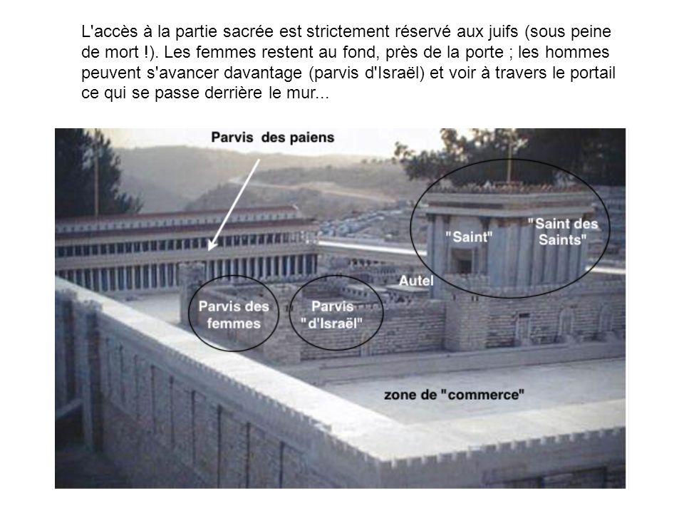 L accès à la partie sacrée est strictement réservé aux juifs (sous peine de mort !).