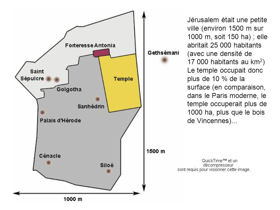 Jérusalem était une petite ville (environ 1500 m sur 1000 m, soit 150 ha) ; elle abritait 25 000 habitants (avec une densité de 17 000 habitants au km 2 ) Le temple occupait donc plus de 10 % de la surface (en comparaison, dans le Paris moderne, le temple occuperait plus de 1000 ha, plus que le bois de Vincennes)...