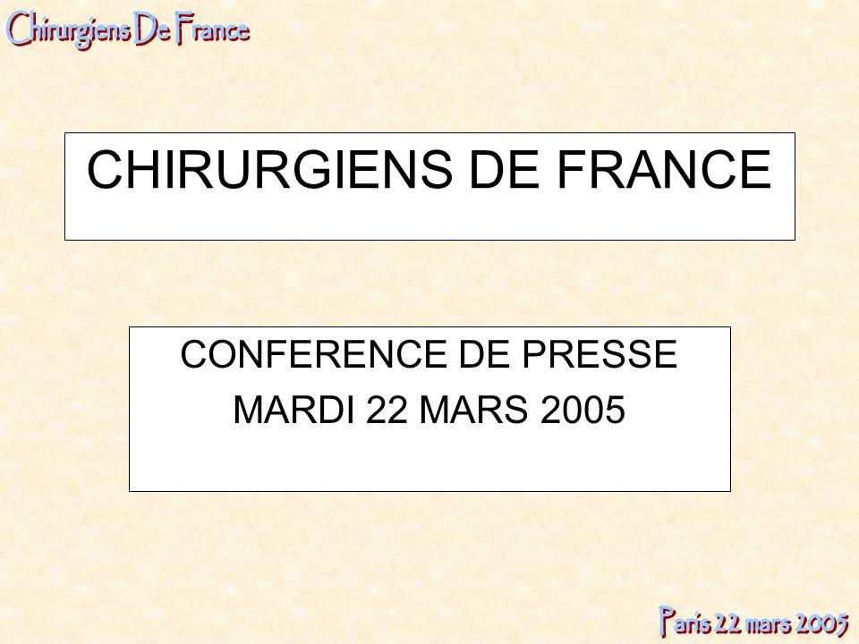 CHIRURGIENS DE FRANCE CONFERENCE DE PRESSE MARDI 22 MARS 2005