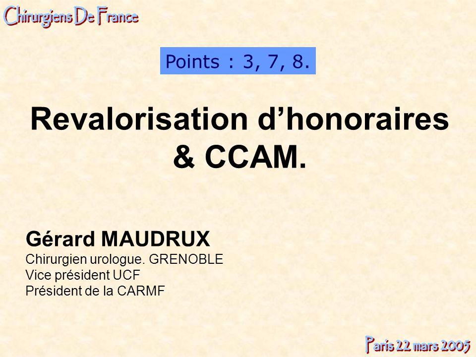 Gérard MAUDRUX Chirurgien urologue. GRENOBLE Vice président UCF Président de la CARMF Points : 3, 7, 8. Revalorisation dhonoraires & CCAM.