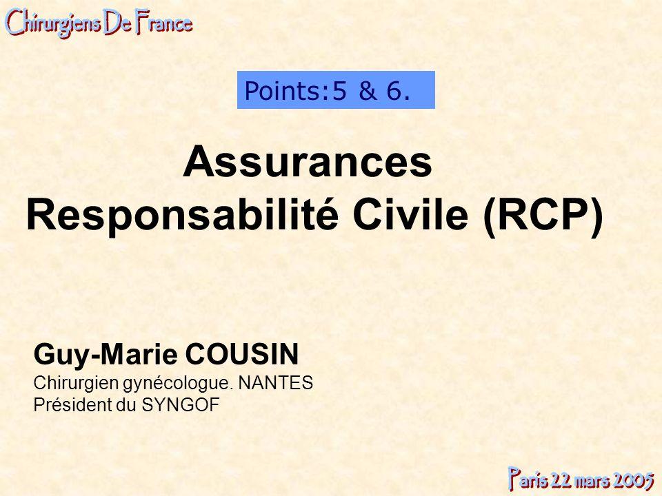 Guy-Marie COUSIN Chirurgien gynécologue. NANTES Président du SYNGOF Points:5 & 6. Assurances Responsabilité Civile (RCP)