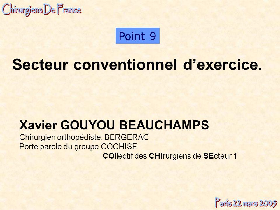 Xavier GOUYOU BEAUCHAMPS Chirurgien orthopédiste. BERGERAC Porte parole du groupe COCHISE COllectif des CHIrurgiens de SEcteur 1 Point 9 Secteur conve