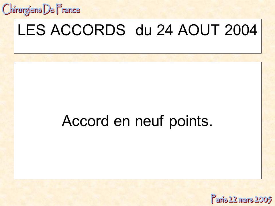 LES ACCORDS du 24 AOUT 2004 Accord en neuf points.