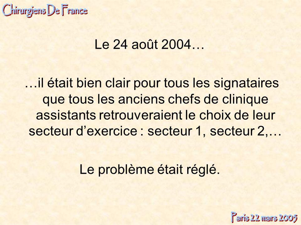Le 24 août 2004… …il était bien clair pour tous les signataires que tous les anciens chefs de clinique assistants retrouveraient le choix de leur sect