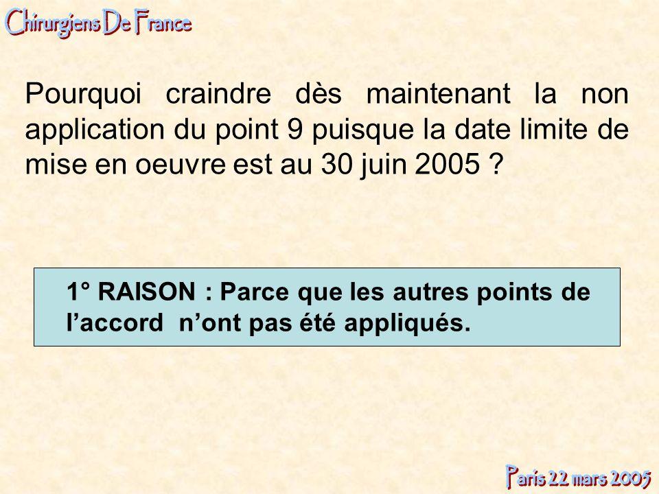Pourquoi craindre dès maintenant la non application du point 9 puisque la date limite de mise en oeuvre est au 30 juin 2005 ? 1° RAISON : Parce que le