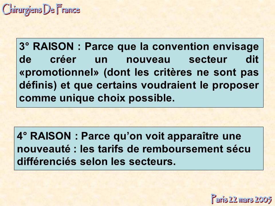3° RAISON : Parce que la convention envisage de créer un nouveau secteur dit «promotionnel» (dont les critères ne sont pas définis) et que certains vo