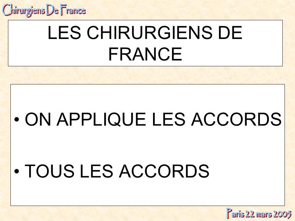 LES CHIRURGIENS DE FRANCE ON APPLIQUE LES ACCORDS TOUS LES ACCORDS